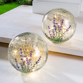 1 LED-Glaskugel mit Lavendel