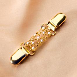 "Clipverschluss ""Perlen"" goldfarben/weiß"