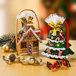 """Geschenktaschen """"Lebkuchenhaus"""" + Tannenbaum"""" gefüllt, 2er-Set"""