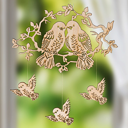 "Holzmobile ""Vogelfamilie"""