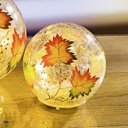 "LED-Glaskugel ""Herbstlaub"", Ø 10 cm"