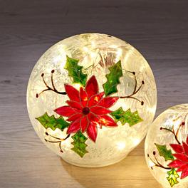 LED-Glaskugel mit Christstern, groß