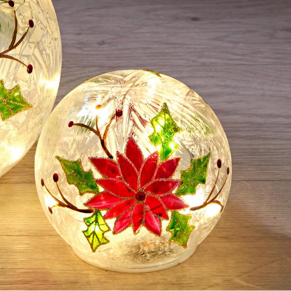 LED-Glaskugel mit Christstern, klein