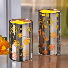 LED-Kerzen silber, 2er-Set
