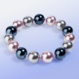Perlenarmband grau-flieder