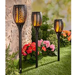 Solar-Gartenstecker mit LED-Feuer