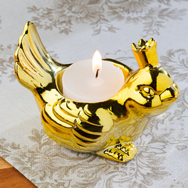 """Teelichthalter """"Vogel"""" goldfarben"""