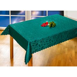 "Tischdecke ""Rosen-Jacquard"" dunkelgrün, 130 x 160 cm"