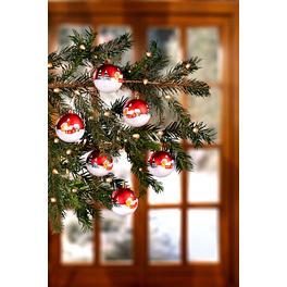 """Weihnachtskugeln """"Winterdorf"""" rot-weiß"""