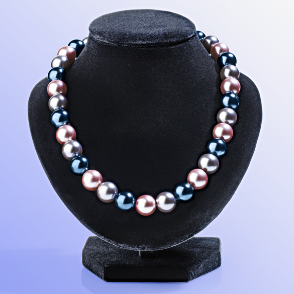 Perlenkette grau-flieder