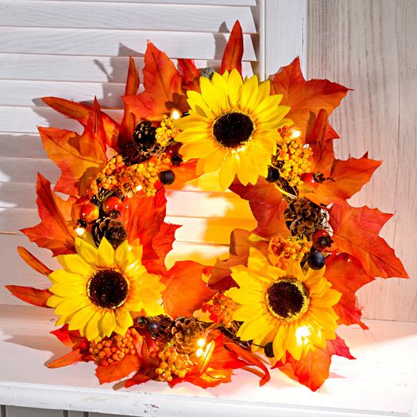 Sonnenblumenkranz beleuchtet