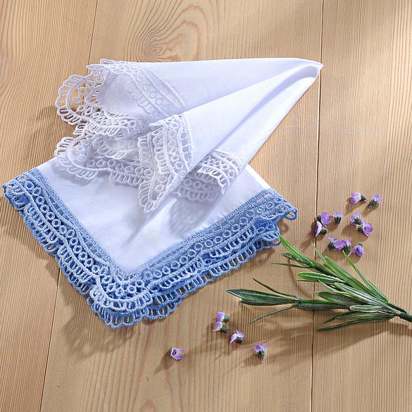 Damentaschentücher weiß + bleu, 2er-Set