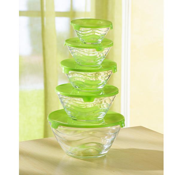 Glasschüssel-Set grün, 10-tlg.