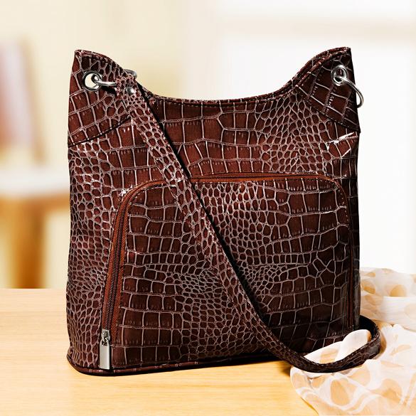 """Handtasche """"Kroko-Look"""" braun"""