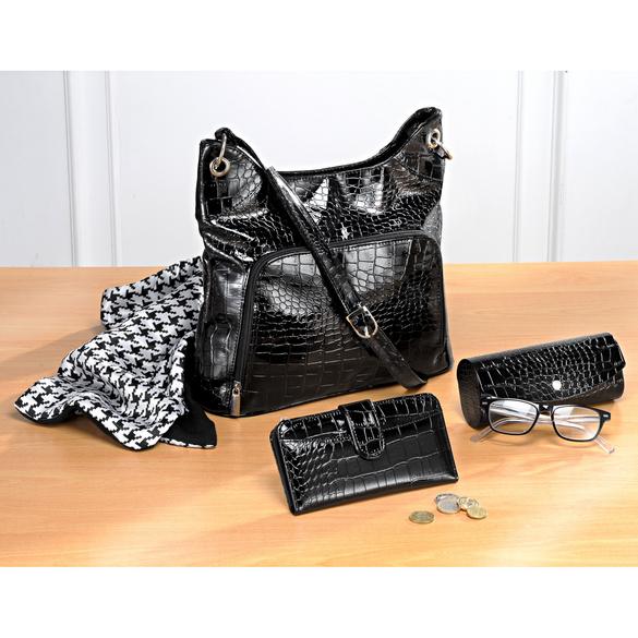 """Handtasche """"Kroko"""" schwarz"""