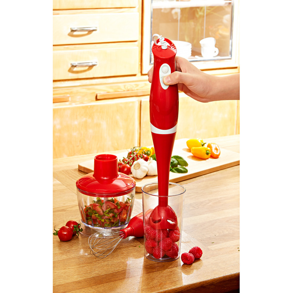 Stabmixer 3-in-1 rot, 5-teilig