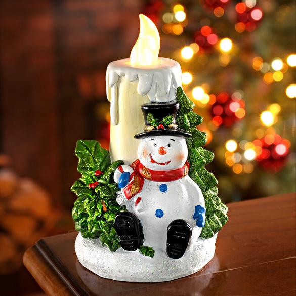 LED-Kerze mit Schneemann