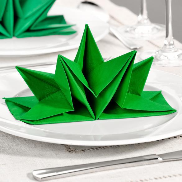 Servietten grün, vorgefaltet