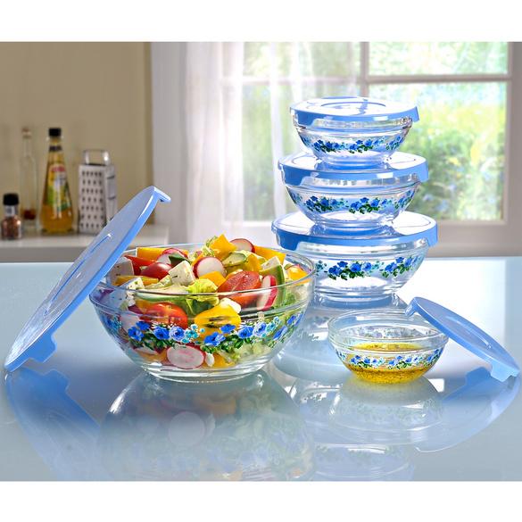 Glasschüssel-Set hellblau, 10-tlg.