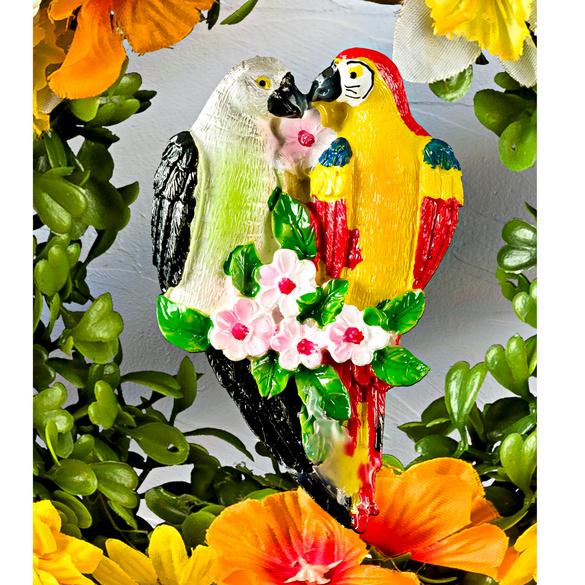 Blumenkranz mit Papageien