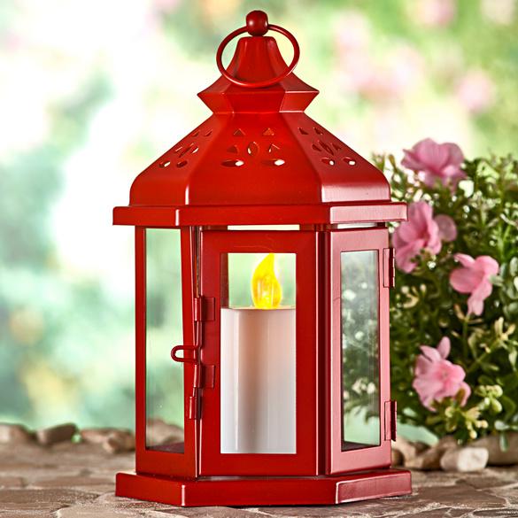 Laterne mit LED-Kerze, rot