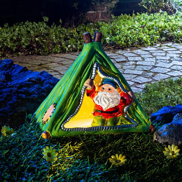 Solar-Zwerg mit Zelt