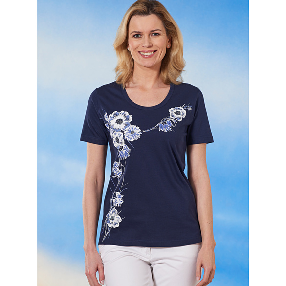 "Druckshirt ""Blütenranke"" blau"