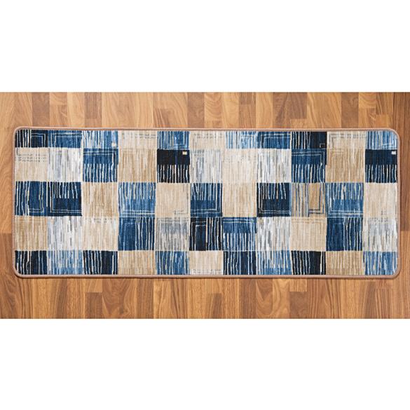 """Läufer """"Karo"""" blau-beige, 57 x 150 cm"""