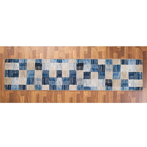 """Läufer """"Karo"""" blau-beige, 57 x 250 cm"""