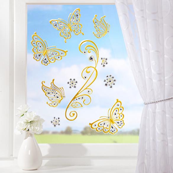 """Fensterbilder """"Schmetterlinge goldfarben, 10-tlg."""