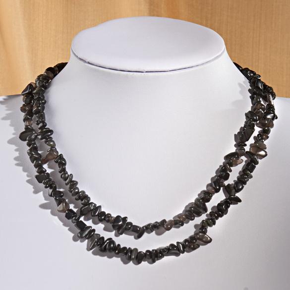 """Splitterkette """"Obsidian"""" 2-reihig"""