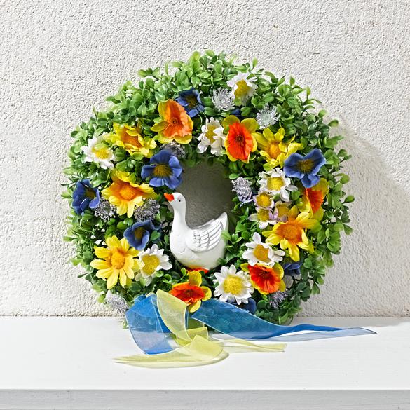 Blumenkranz mit Gans