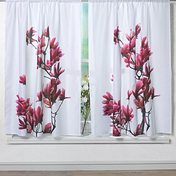 """Mikrofaser-Vorhang """"Magnolien"""" 140 x 140 cm"""