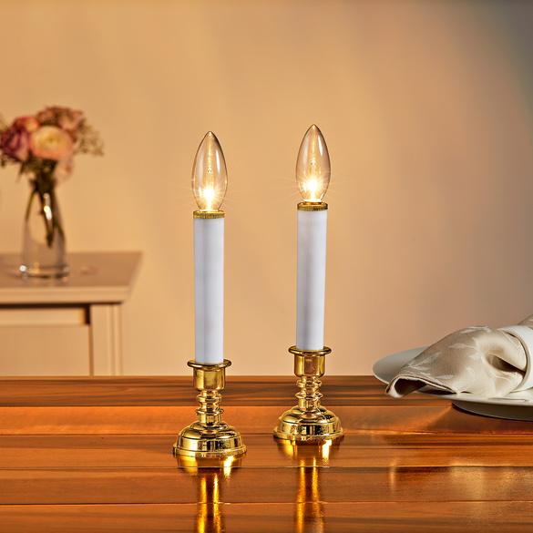 1 LED-Kerze mit Ständer, gold