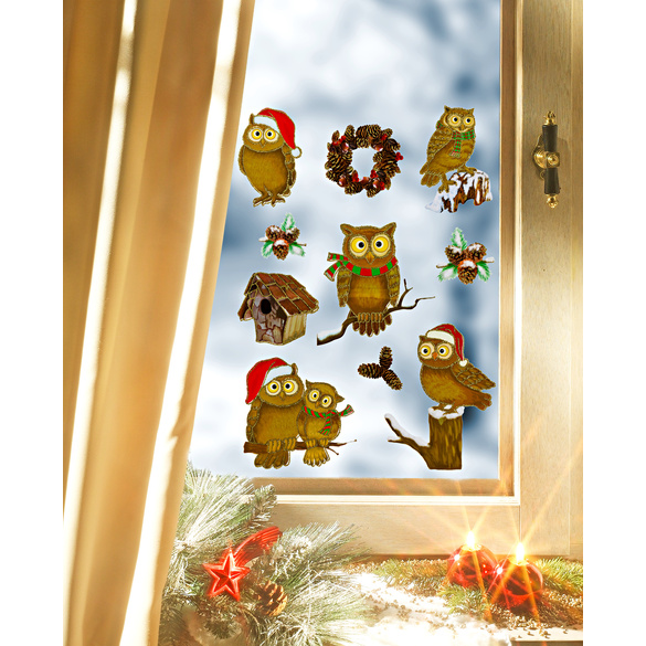 8er-Set 3D Weihnachts Fensterdeko Fensterbilder Fensterbild Fenster Aufkleber