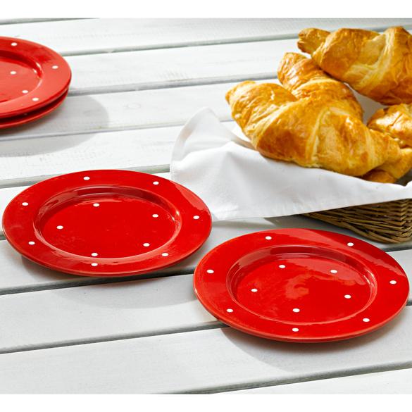 """Frühstücksteller """"Tupfen"""" rot-weiß"""