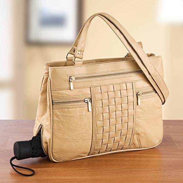 Handtasche mit Flechtung beige