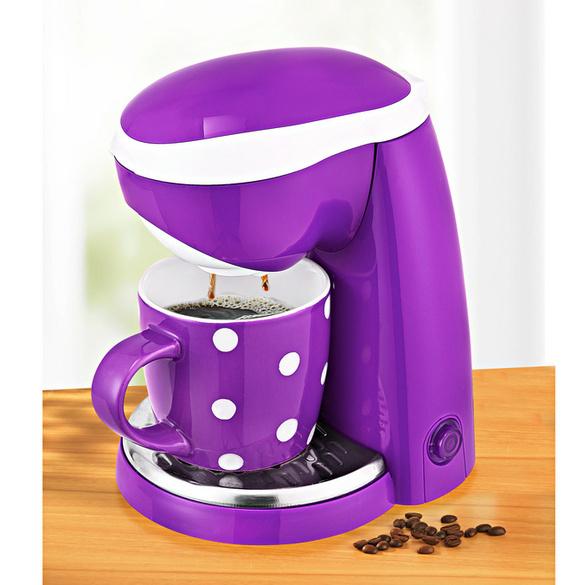1-Tasse-Kaffeemaschine lila-weiß