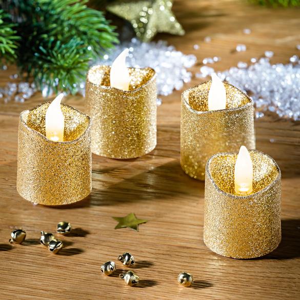 LED-Kerzen goldfarben, 4er-Set