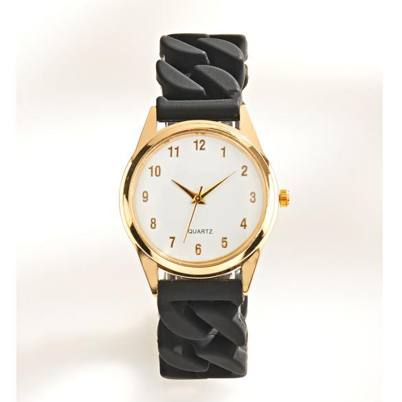 Stretch-Armbanduhr schwarz/gold
