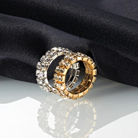 Strass-Ring elastisch, silberfarben