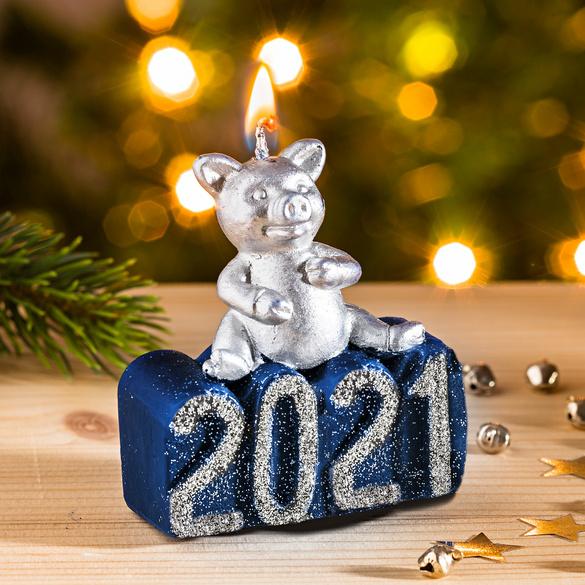 """Neujahrskerze 2021 """"Glücksschwein"""""""