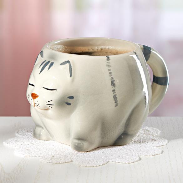 Katzen-Tasse grau