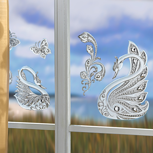 """Fensterbilder """"Schwäne"""", 4-tlg."""