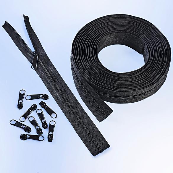 6 m Endlos-Reißverschluss + 25 Zipper schwarz