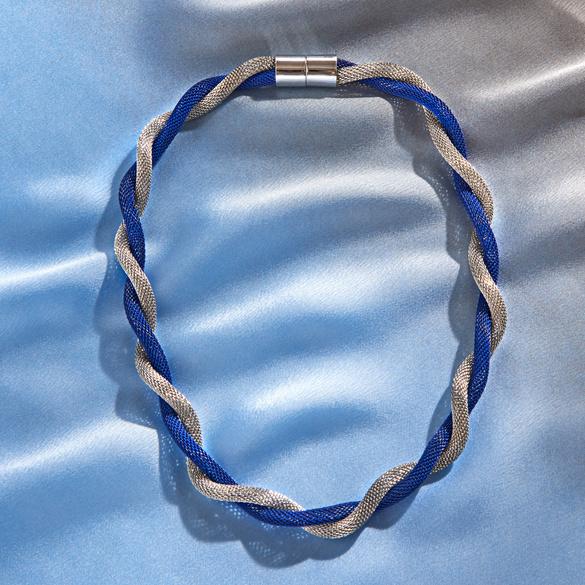 Halskette blau-silberfarben