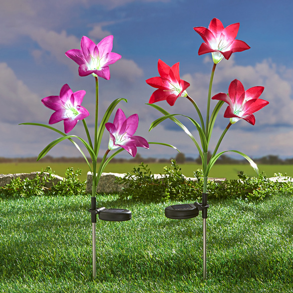"Solarleuchte ""Lilien"" lila"
