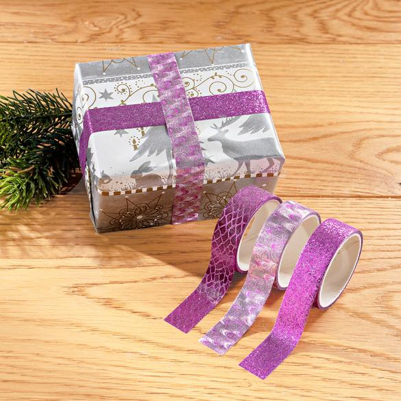Geschenkband lila, 3er-Set