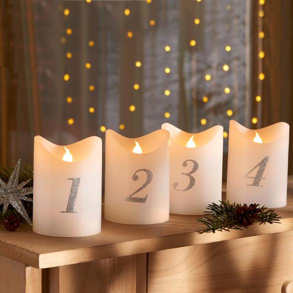 LED-Adventskerzen mit Fernbedienung, 4er-Set