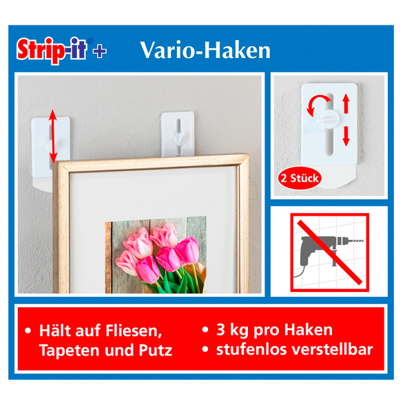 Strip-it® + selbstklebender Wandnagel, 2er-Set